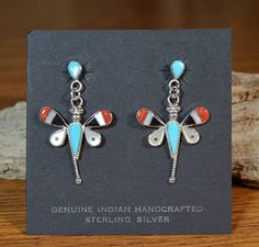 250e20eae Zuni Earrings Multi-Stone Dragonfly Sleeping Beauty Turquoise Coral Shell  Inlay Handmade Sterling Silver