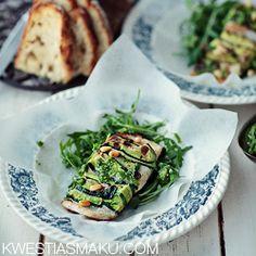 Ryba w cukinii z zielonym pesto bazyliowym Pesto, Sprouts, Nom Nom, Menu, Fish, Chicken, Dinner, Baking, Vegetables