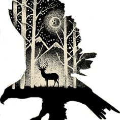 Bird with woods design