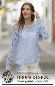 Crochet DROPS jumper with lace pattern in Cotton Light. Size: S - XXXL. Free pattern by DROPS Design.