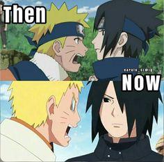 "The only difference is that Sasuke isn't bothered by Naruto's bitching anymore. He's just like, ""Yeah, yeah, loser. Naruto Sasuke Sakura, Naruto Comic, Sarada Uchiha, Naruto Cute, Naruto Shippuden Sasuke, Sasunaru, Narusasu, Shikatema, Anime Meme"