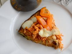 Spicy buffalo chicken pizza with a healthy crust