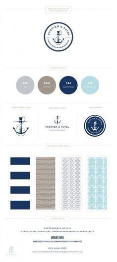 Nautical blue and grey branding style guide.