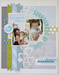 """Scrapbook layout: slanted """"ribbon"""" edges stand out more, encircle center collection of objects"""