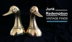 Brass duck bookends Vintage home decor by JunkRedemption on Etsy
