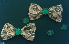 Green Gold Shamrock St Patrick's Day Hair Bow Tabi's Elegant Hair Pieces by TabiCreativeCreature on Etsy