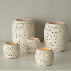 punched ceramic lanterns | Ceramic Tealight Lantern | Gifts for Her | rigby & mac
