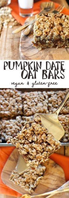 Looking for a healthy fall snack that the whole family will love? These gluten-free, vegan Pumpkin Date Oat Bars may be just what you need. Click through for the full recipe. Gluten Free Pumpkin, Vegan Pumpkin, Gluten Free Desserts, Pumpkin Recipes, Vegan Desserts, Vegan Gluten Free, Fall Recipes, Whole Food Recipes, Health Desserts