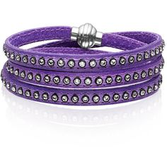 Womens Sif Jakobs Jewellery's 57cm Arezzo Violet Leather Bracelet with... ($105) ❤ liked on Polyvore featuring jewelry, bracelets, accessories, purple, violet jewelry, leather jewelry, leather bangles, studded jewelry and sparkle jewelry