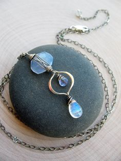 Natural Blue Chalcedony Tanzanite Moonstone & Sterling silver pebble necklace by brendamcgowan