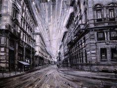 Grungy urban landscape paintings by Valerio D'Ospina Urban Painting, Painting Art, Photomontage, Colossal Art, Art Graphique, Weird Art, Urban Landscape, Urban Art, Love Art