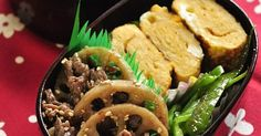 Japanese Bento with Simmered Beef & Lotus Root and Omelet | 試してみたいこと | Pinterest | Lotus, Bento and Omelet