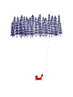 Alone in the forest Art Print by Robert Farkas. i like the footprints and the trees look like The Moomins illustrations Art And Illustration, Fuchs Illustration, Forest Poster, Forest Art, Snowy Forest, Art Mural, Art Graphique, Mail Art, Art Paintings