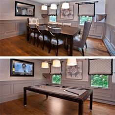 Dining room table converts to pool table and TV is behind mirror!  Genius!  Also, you can order felt game covers (ie. black jack, craps, texas hold em)