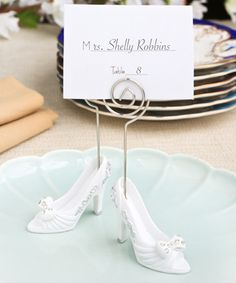White Fairytale Shoe Design Place Card Photo Holders