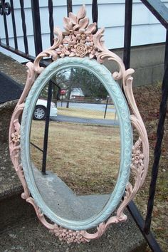 Large Pastel Oval Wall Mirror/ Vintage Syroco shabby cottage Peach Mint green Gold baroque floral Princess mirror/ nursery decor girls room