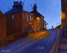 That time of day as night draws in and the street lights flicker on.Perfect amber lighting against the inky sky.By Chris Cyprus. Nocturne, Art Sketches, Art Drawings, British Artists, City Scapes, Street Lights, Urban Architecture, Northern Soul, Sense Of Place