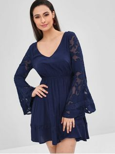 Flare Sleeve Semi Sheer Plunge Dress a73307456a4b