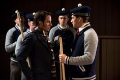 Crabtree (Jonny Harris) and Leslie Garland (Giacomo Gianniotti) face off at the Curling match.
