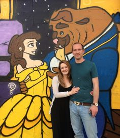 Henry Barnes, a graffiti artist from Bristol, used 30 cans of paint, over two days, to create a 50-foot Beauty And The Beast mural to propose to his girlfriend. | A Graffiti Artist Proposed To His Girlfriend Using This Massive Disney Sidewalk Mural