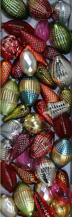 Czech mercury glass Christmas garland beads in many shapes and sizes!