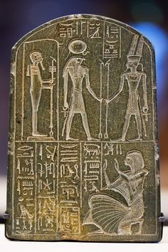 Greywacke stele dedicated by Chia, treasurer of a temple dedicated to the Dynasty pharaoh Ramesses I (d. The top row depicts the gods (L-R) Ptah, Ra-Herakhty, and Amun-Ra, patron. Ancient Egypt Art, Old Egypt, Ancient Artifacts, Ancient History, Architecture Antique, Kemet Egypt, Ancient Mysteries, Egyptian Art, Ancient Civilizations