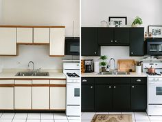 Rental kitchen makeover The Everygirl Cofounder Alaina Kaczmarski's Greystone Home Tour Black Kitchen Cabinets, Painting Kitchen Cabinets, Black Kitchens, Modern Kitchens, Updated Kitchen, Diy Kitchen, Kitchen Decor, Awesome Kitchen, Small Apartment Kitchen