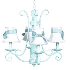 Beautiful Baby Blue Chandelier- love this for a nursery