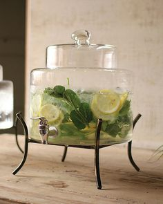 Large Glass Beverage Dispenser With Iron Stand | Madison + Parker