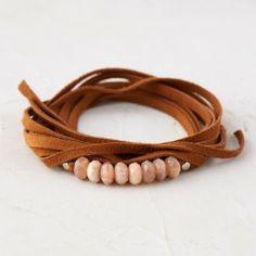 Sandstone & Suede Wrap Bracelet