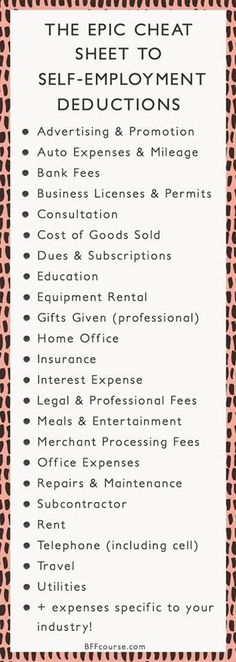 Tax Deductions Write Offs Self Employed Entrepreneur Creative Entrepreneur talk entrepreneur tips - career advice - small business - business tips - business strategy Business Planning, Business Tips, Online Business, Business Motivation, Business Opportunities, Small Home Business Ideas, Business Meme, Business Folder, Llc Business