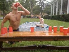 """""""Slip Cup"""" Run, slip down the slide, drink, and flip cup! This looks like so much fun."""