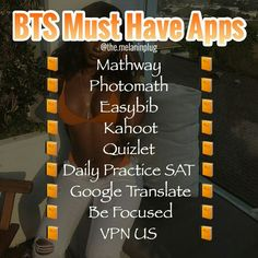 Must-have apps for school Skin Care Middle School Hacks, High School Hacks, Life Hacks For School, School Study Tips, College Hacks, Apps For School, School Stuff, School Info, Schul Survival Kits