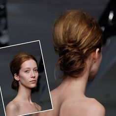 Modern, Messy Low Bun Wedding Hair. Vera Wang                                                                                                                                                                                                                                                                                                                                                                                                                        The collection's diaphanous, deconstructed…