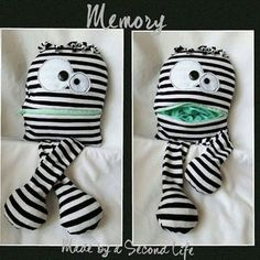 This is a worry friend I made for a child. It is made from the clothes of his deceased grandmother : crafts Sock Monster, Monster Dolls, Felt Animal Patterns, Stuffed Animal Patterns, Worry Monster, Sewing Crafts, Sewing Projects, Worry Dolls, Diy Bebe