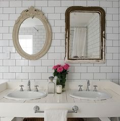 Mismatched Vintage Mirrors & Double Bathroom Vanity // Photographer Simon Kenny // House & Home May 2010 issue