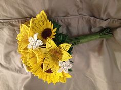 Yellow and White French Beaded Flower Wedding Bouquet