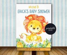 Printable Baby Shower or Birthday Welcome Sign - Lion Welcome Poster - matching items: photo 2,3,4,5 (SOLD SEPARATELY) This listing is a DIGITAL FILE customized with your personalized information. No printed materials will be shipped. You can print as many as you want! File is delivered