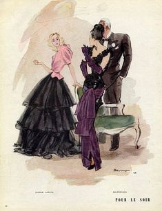 Lanvin and Balenciaga gowns illustrated by Pierre Mourgue, 1945