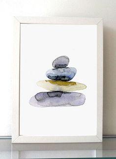 Pebbles Watercolor Painting giclee prints zen by Zendrawing
