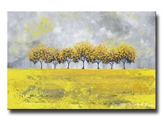 Golden Rain Large Prints, Canvas Print of Original Art Yellow Grey Abstract Painting Horizon Trees Modern Palette Knife Tree Landscape white grey gold wall art home decor fall gift. Beautiful, vibrant, crisp, soothing greys, white, beige, yellow, gold coastal color palette. Print is of SOLD original, textured, palette knife painting which was hand-painted, mixed media acrylic on canvas, gallery fine art created by internationally collected artist, Christine Krainock. *Select either paper…