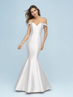off-shoulder straps soften the mermaid silhouette of this Allure Bridal Mikado gown. Available in plus size. Range in color. Wedding Dress Pictures, Wedding Dress Trends, Bridal Wedding Dresses, Designer Wedding Dresses, Bridal Style, Bridesmaid Dresses, Bridesmaids, Prom Dresses, Formal Dresses