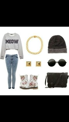 Hipster outfit : Cropped gray sweater , light wash denim jeans, floral  lace up boots,  black messenger sling , gray beanie , gold studs, black round shades and gold chain.