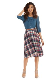 Door-to-Door Delight Skirt. The hand-picked bouquets from your garden are as delightful as the sight of you delivering them to your neighbors in this plaid skirt! #multi #modcloth