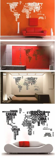Decorate your living space with this world map wall decal. This world map is mad from the countries name formed in words.   Vinyl decals can be applied to any clean, smooth and flat surface. You can put them on your walls, doors, windows or anywhere you want! Vinyl decals are faster, cleaner and easier than painting. You can use various decals and colors to create your own unique design!We can custom size most designs to your specifications. Please contact me for an estimate. The photo…