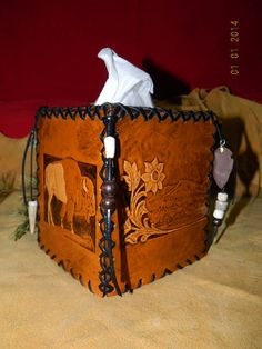 Hand Tooled Leather Kleenex Tissue Box Cover Buffalo &  Desert Rose Scene w/ Hand Crafted Deer Antler Beads Arrow Head  Buffalo Trinket OOAK...