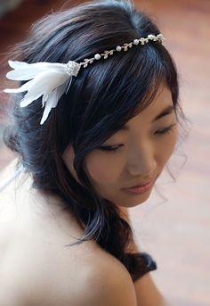 #Feather Headband - Bridal Hair Accessory  #Wedding