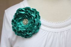 Teal Flower Brooch w/ Rhinestone Center/ Hair Clip/ by SunnyApril, $14.00