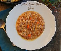 Old School Ham Bone Bean Soup...A delicious homemade Ham and bean soup made with a ham bone to warm you during the winter months.