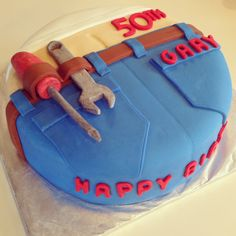 Plumber-butt cake. Covered in marshmallow fondant with gum paste tools. This was simple, a bit time-consuming, but really fun to do!